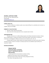 Sample Resume Philippines by Cosme Anjonell S Resume