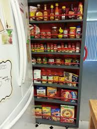 Kitchen Cabinets Slide Out Shelves Empty Space Next To The Fridge Make A Roll Out Pantry Pantry
