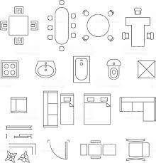 floor plan shower symbol furniture linear vector symbols floor plan icons set stock vector