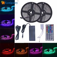 color changing led strip lights with remote lumiparty 2x5m 300led flexible waterproof 5050smd rgb color change