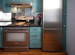 Turquoise Cabinets Kitchen Kitchen Of The Week Turquoise Cabinets Snazz Up A Space Savvy Eat In
