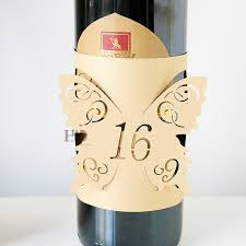 gold wine bottle table numbers h d beige gold hollow lace butterfly wine bottle table number wraps