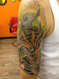 half sleeve of noah u0027s ark getting attacked by a giant squid work