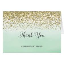 mint and gold thank you cards greeting photo cards zazzle