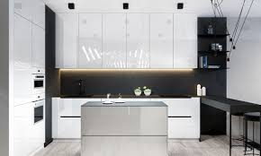 kitchen industrial black and white kitchen features white cabinet