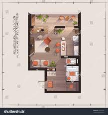 studio apartment floor plans architectural color floor planstudio apartment stock vector