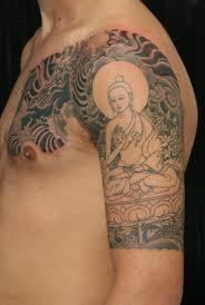 tibetan buddha half sleeve tattoo by yoni zilber nyc tattooing