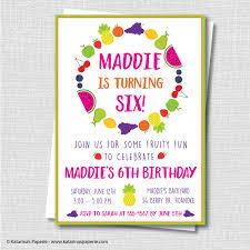 fruit birthday party invitation fruit themed birthday