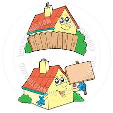 cartoon pair of cute houses by clairev toon vectors eps 43127