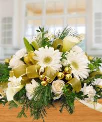 Gold Christmas Centerpieces - white u0026 gold holiday centerpiece holiday flowers woyshners