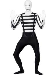 Halloween Skeleton Bodysuit Mime Second Skin Mens Bodysuit Halloween Circus Adults Fancy Dress