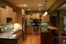 Kitchen Colors With Maple Cabinets Interior Blue Ocean Mini Glass Subway Tile Kitchen Backsplash