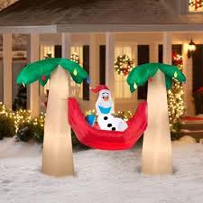 amazon com gemmy airblown inflatable olaf with santa hat in