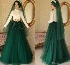 discount turkish islamic green white muslim wedding dresses high