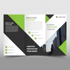 green and black trifold leaflet template vector free download