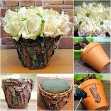 How To Make Flower Arra Diy Flower Arrangement Ideas White Roses Tree Bark Clay Pot