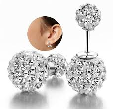 sided earrings dib fashion jewelry silver plated sided