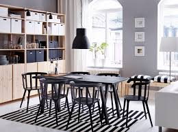 sofas center blue leather sofad chair gray chairsleather dining room furniture ideas dining table chairs ikea a large dining room with a black dining table and six chairs combined with storage in