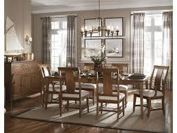 kincaid furniture cherry park seven piece rectangular leg table