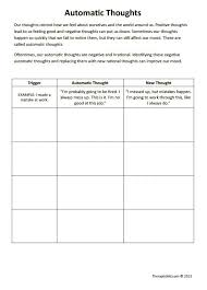 Mental Health Worksheets For Adults Cbt Worksheets Automatic Thoughts Preview For Negative Self