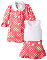 amazon com bonnie jean baby girls easter dress coral dot jacket