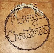 barbed wire wreath merry christmas holiday rustic door art wall