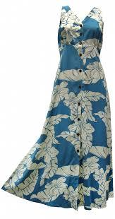 hibiscus pareau hawaiian print long tank dress button front in