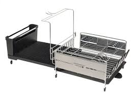 Dish Drainers Sabatier Expandable Compact Dish Rack With Wine Glass Holder