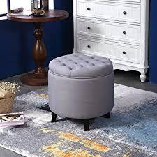 amazon com belleze nailhead round tufted storage ottoman large