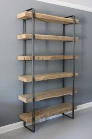 wood and iron bookshelf dumbfound industrial style brown home
