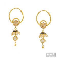 gold jhumka hoop earrings 22k indian gold bali ajer52970 22k gold indian bali hoops