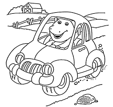 barney in car coloring pages for kids printable free barney and
