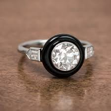 onyx engagement rings deco style onyx and diamond engagement ring