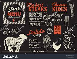 steak menu restaurant cafe design template stock vector 713579401