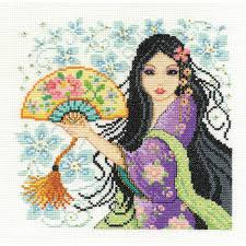 dmc geisha cross stitch kit 8 x 8 inch hobbycraft