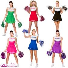 Womens Cheerleader Halloween Costume Cheerleader Fancy Dress Costumes Womens Ladies Prom