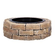 rumblestone fire pit insert shop 43 5 in w x 43 5 in l ashland concrete firepit kit at lowes com