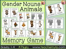 gender noun animals memory game by teachernyla teaching