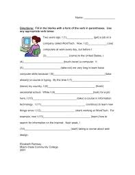 fill in the blank verb tense 3rd 5th grade worksheet lesson