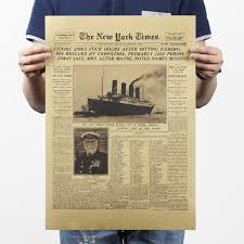 the new york times the titanic sank headlines vintage posters wall