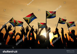 Flag In Computer Group People Waving South African Flags Stock Photo 222179884