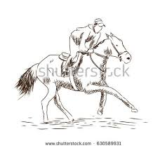 hand drawn sketch horse running race stock vector 630589931