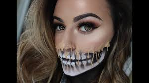 half face halloween makeup ideas melting skeleton makeup thepowderrooom youtube
