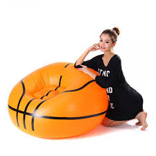 portable basketball pattern flocking fast inflatable lazy sofa