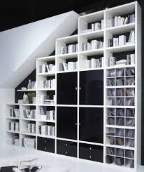 Wohnzimmer Regalsystem Stufenregal Bücherregal Dachschräge Toro Hochglanz Weiß