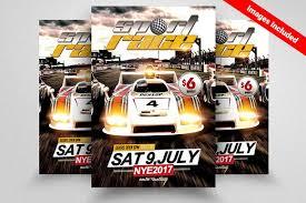 car racing flyer template flyer templates creative market
