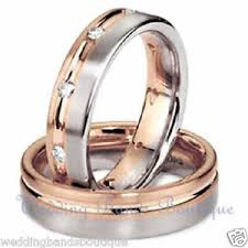 his and hers wedding bands 10k white pink gold his hers matching wedding bands set