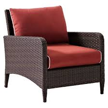 crosley kiawah outdoor wicker arm chair with sangria cushions target