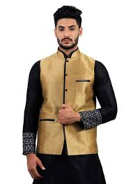 gold raw silk waistcoats ethnic indian wears sherwani kurta