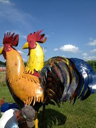 77 big colorful metal rooster large yard chicken sculpture